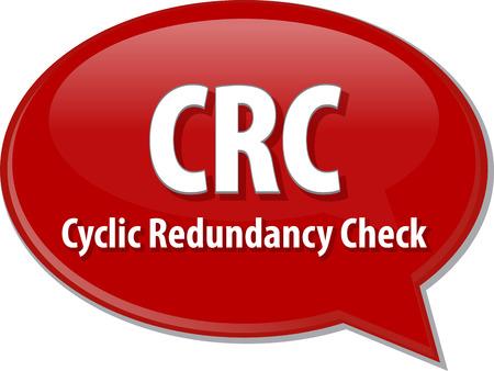 abbreviation: Speech bubble illustration of information technology acronym abbreviation term definition CRC Cyclic Redundancy Check