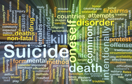 punishable: Background concept wordcloud illustration of suicide glowing light