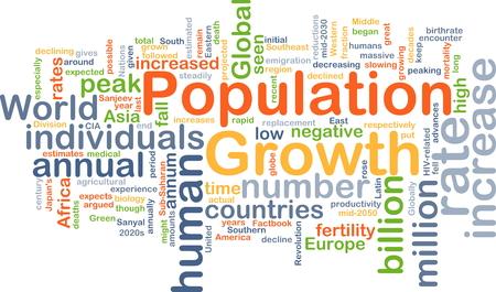 poblacion: Concepto de fondo wordcloud ilustración de crecimiento de la población