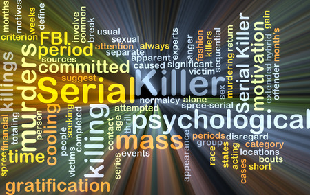 serial: Background concept wordcloud illustration of serial killer glowing light