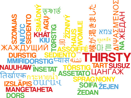 thirsty: Background concept wordcloud multilanguage international many language illustration of thirsty