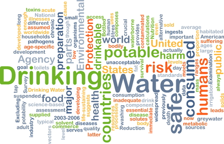 safe drinking water: Background concept wordcloud illustration of drinking water
