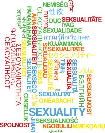 sexualidad: Concepto de fondo wordcloud ilustración muchos lengua internacional en varios idiomas de la sexualidad Foto de archivo