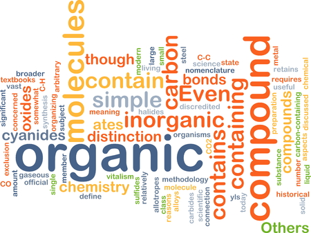 compound: Background concept wordcloud illustration of organic compound Stock Photo
