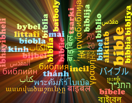 the scriptures: Background concept wordcloud multilanguage international many language illustration of bible glowing light