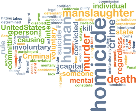 homicide: Background concept wordcloud illustration of homicide Stock Photo
