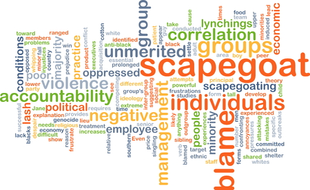 correlation: Background concept wordcloud illustration of scapegoat blame