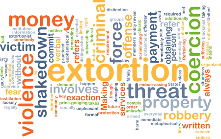 extortion: Background concept wordcloud illustration of extortion Stock Photo