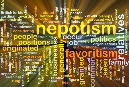nepotism: Background concept wordcloud illustration of nepotism glowing light Stock Photo
