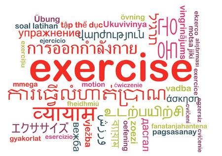 multilanguage: Background concept wordcloud multilanguage international many language illustration of exercise Stock Photo