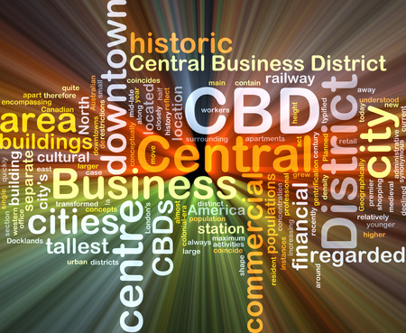 business district: Background concept wordcloud illustration of central business district CBD glowing light