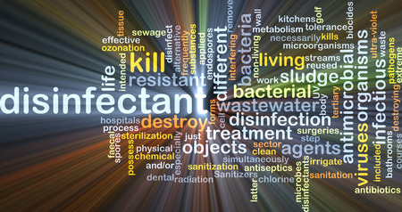 pathogens: Background concept wordcloud illustration of disinfectant glowing light