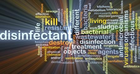 d�sinfectant: Fond, concept, wordcloud, Illustration, de lumi�re rougeoyante d�sinfectant