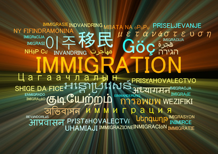 migrate: Background concept wordcloud multilanguage international many language illustration of immigration glowing light