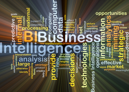 Background concept wordcloud illustration of business intelligence BI glowing light Stock Photo