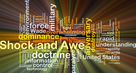 Background concept wordcloud illustration of shock and awe glowing light