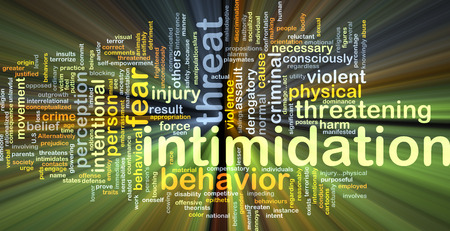 intimidation: Background concept wordcloud illustration of intimidation glowing light Stock Photo