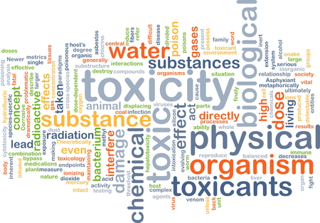 doses: Background concept wordcloud illustration of toxicity Stock Photo