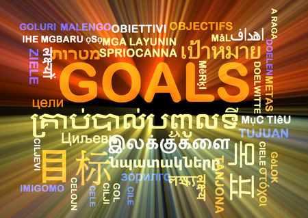 multiple targets: Background concept wordcloud multilanguage international many language illustration of goals glowing light Stock Photo