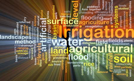 Background concept wordcloud illustration of irrigation glowing light