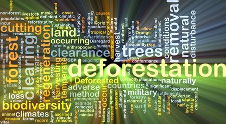 deforestacion: Concepto de fondo wordcloud ilustración de la luz resplandeciente de la deforestación