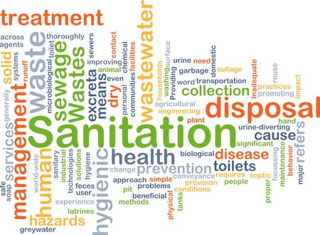 Background concept wordcloud illustration of sanitation Stock Photo