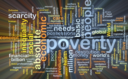 poverty: Background concept wordcloud illustration of poverty glowing light Stock Photo