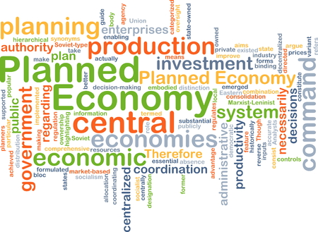 Background concept wordcloud illustration of planned economy