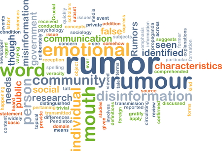 rumor: Background concept wordcloud illustration of rumor