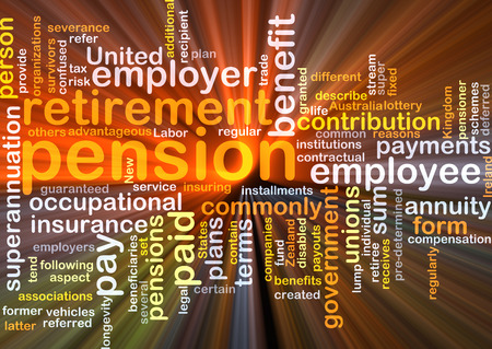 pension: Background concept wordcloud illustration of pension glowing light Stock Photo