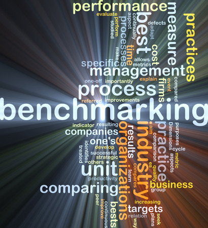 management concept: Background concept wordcloud illustration of benchmarking glowing light