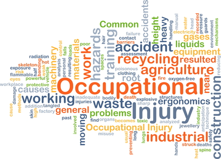 ergonomics: Background concept wordcloud illustration of occupational injury