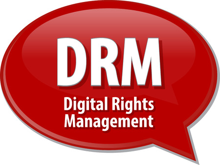 abbreviation: Speech bubble illustration of information technology acronym abbreviation term definition DRM Digital Rights Management Stock Photo