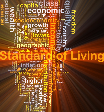 Background concept wordcloud illustration of standard of living glowing light