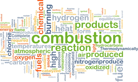 Background concept wordcloud illustration of combustion Stock Photo