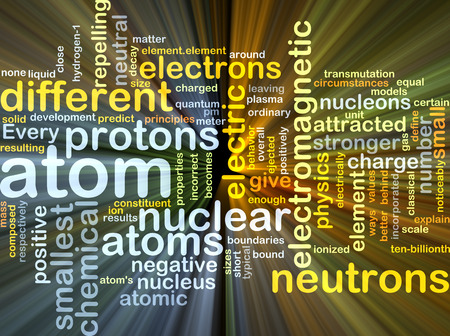 transmutation: Background concept wordcloud illustration of atom glowing light