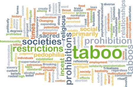 prohibitions: Background concept wordcloud illustration of taboo Stock Photo