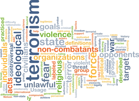 terrorism: Background concept wordcloud illustration of terrorism