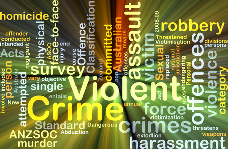 Background concept wordcloud illustration of violent crime glowing light