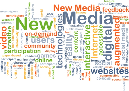 Background concept wordcloud illustration of new media