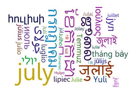 multilanguage: Background concept wordcloud multilanguage international many language illustration of July