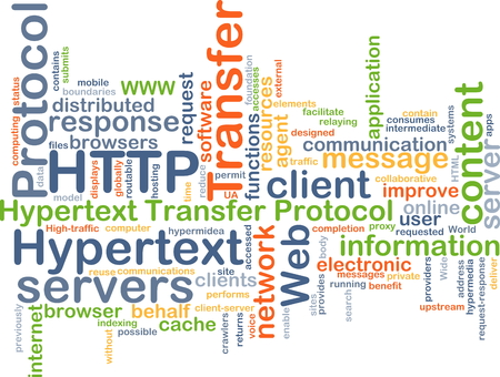 http: Background concept wordcloud illustration of hypertext transfer protocol HTTP Stock Photo