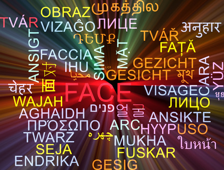 foreign bodies: Background concept wordcloud multilanguage international many language illustration of face glowing light Stock Photo