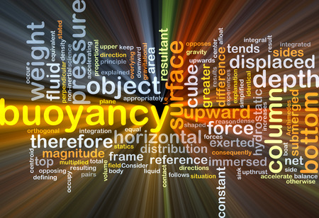 statics: Background concept wordcloud illustration of buoyancy glowing light Stock Photo
