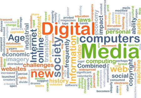 new age: Background concept wordcloud illustration of digital media Stock Photo
