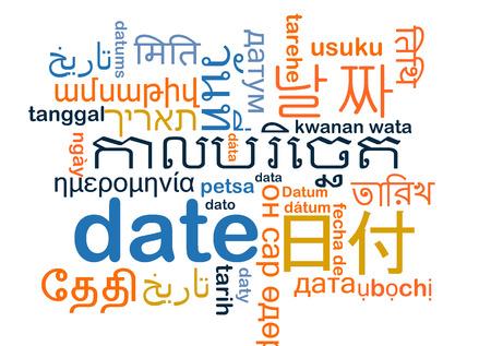 multilanguage: Background concept wordcloud multilanguage international many language illustration of date Stock Photo
