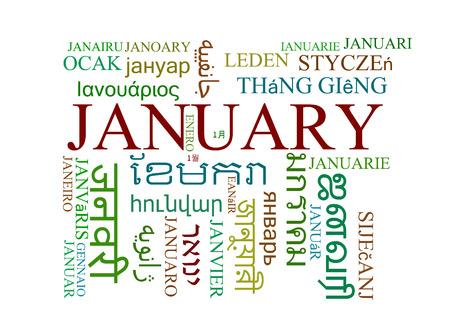 multilanguage: Background concept wordcloud multilanguage international many language illustration of January Stock Photo