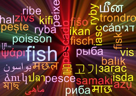 neon fish: Background concept wordcloud multilanguage international many language illustration of fish glowing light