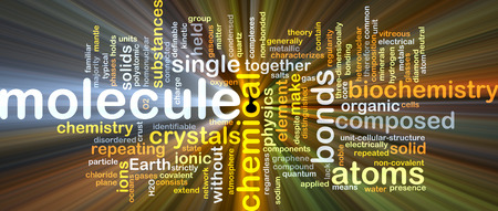 chemical bonds: Background concept wordcloud illustration of molecule glowing light