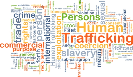coercion: Background concept wordcloud illustration of human trafficking